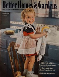March 1943 | little girl washing dishes | kids clothes | girls dress