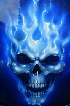 Skull Drawings With Blue Flames images & pictures - NearPics