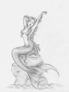 Mermaid drawings pencil mermaid by kieraghearts traditional art drawings fa Mermaid Tail Drawing, Mermaid Sketch, Mermaid Drawings, Mermaid Tattoos, Mermaid Art, Mermaid Tails, Beautiful Mermaid Drawing, Dark Mermaid, Drawing Sketches