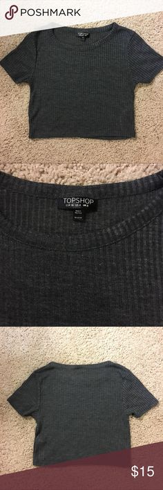 NEW! Topshop Grey Crop Top Topshop grey Crop, size 4 but runs pretty small. Super good for layering and to wear with high waisted pants! Topshop Tops Crop Tops