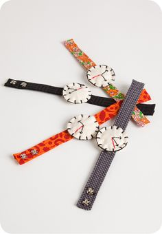 Children's Watch Bracelets from Specks & Keepings. These handmade soft clock bracelets for children were made with care from cutting room scraps by KOTOA.