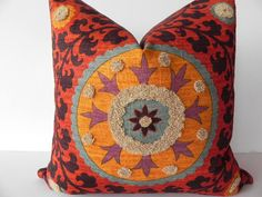 Suzani 3Park 20X20 Tribal Print Pillow Cover Designer Home Decor Fabric-Throw Pillow-Accent Pillow-Designer Pillow-Throw Pillow. $55.00, via Etsy.