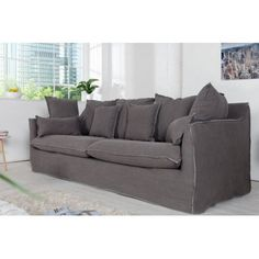 Großes Hussensofa HEAVEN stone washed grau Baumwollstoff Sofa, Farbe: Grau, Material: Stoff // check out more ---> riess-ambiente. Furniture, Shades Of Grey, Shabby Chic, Interior, Sofa, Stone Washed, Home Decor, Interior Design, Couch