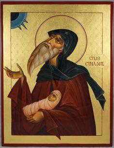 St Stylianos the Hermit Hand-Painted Byzantine Icon