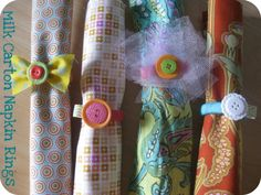 Napkin rings out of milk carton rings? Is there a better combination of frugal and crafty? Really great, easy craft for pre-teen or teenage girls.