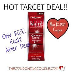 ***THIS COUPON HAS RESET ~ GET MORE PRINTS*** Get Colgate Optic White Express White Toothpaste for only $0.31 each when you stack a deal with the high value $2.00/1 coupon at Target! ► http://www.thecouponingcouple.com/colgate-optic-white-toothpaste-only-0-32-with-target-deal/  #Coupons #Couponing #CouponCommunity  Visit us at http://www.thecouponingcouple.com for more great posts!