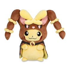 Official Pikachu Pokémon Plush wearing Mega Lopunny Hoodie. Embroidered, buttoned, and detailed. Hood partly removable.
