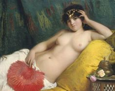 * Giovanni Costa - - - An Odalisque with a Red Fan - (044-001)