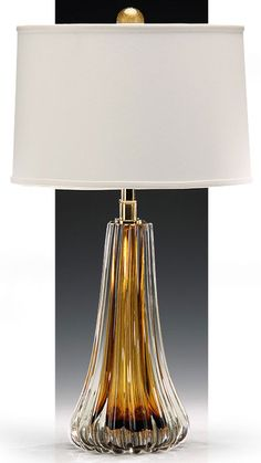 hand-blown clear and brown one-light Venetian glass lamp