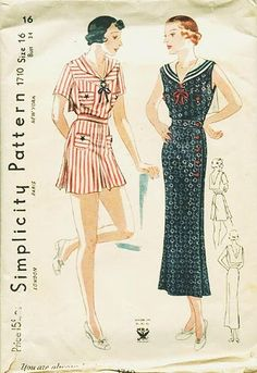 1930's striped sailor play suit and sailor dress