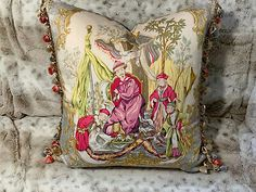 VERVAIN 'TAIPING PALACE' PINK CHINOISERIE WITH SCALAMANDRE SILK TRIM, PILLOW  | eBay