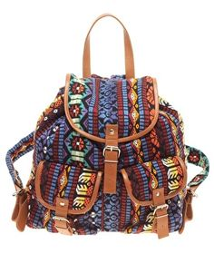 ASOS Leather Trim Aztec Pattern Backpack