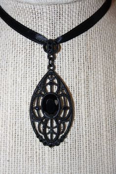 Simple Black Crystal Pendant  on Etsy, $15.00 #gift #steampunk #jewelry