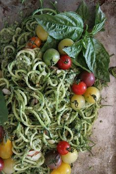 kate-loves-kale: Zuchinni Noodles with Basil Almond Pesto and Cherry Tomatoes by Heather Christo Whole 30 Recipes, Raw Food Recipes, Food Network Recipes, Vegetarian Recipes, Cooking Recipes, Healthy Recipes, Veggie Recipes, Dinner Recipes, Zuchinni Noodles