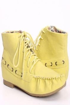 YELLOW FAUX LEATHER MOCCASIN INSPIRED FLATS