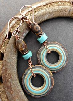 Turquoise, brown and cream ceramic rounds, with stone and copper metal earrings. -  - McKee Jewelry Designs - 1
