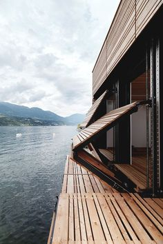 siding folds down into the deck... brilliant