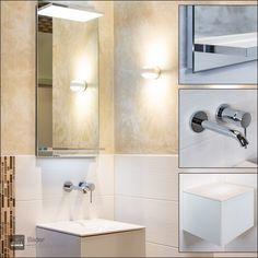 Auf sehr kleinem Raum bieten wir hier eine tolle #Designlösung,   #KEUCO #Keramikbecken in 43cm  Das #Becken und #Möbel ist in verschiedenen Formaten zu bekommen und sehr #individuell #planbar. Der KEUCO Lichtspiegel in 43x90 cm ist mit #LED ausgestattet.  Die #GROHE Armatur nimmt die weiche Form des Waschbeckens wieder auf. #TopLight weiße #Wandleuchte mit 2 #Leuchtkegel  Guter #Geschmack scheitert nicht an fehlenden #Quadratmetern. Top Light, Form, Planer, Showroom, Door Handles, Vanity, Led, Bathroom, Home Decor