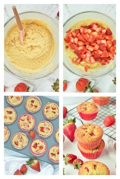 Paleo, gluten free and sugar free muffin recipe with 4 g net carbs. Strawberry Muffins Healthy, Fresh Strawberry Recipes, Healthy Muffins, Strawberry Cupcakes, Keto Muffin Recipe, Healthy Muffin Recipes, Keto Recipes, Keto Foods, Healthy Snacks