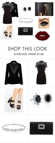 """Sin título #474"" by girlblack25 ❤ liked on Polyvore featuring Oscar de la Renta, Sandro, Love Moschino, Chaumet, Blue Nile, Roger Vivier and Lime Crime"