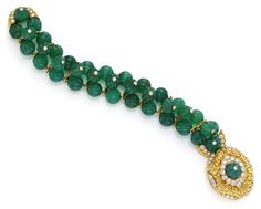 A Gold, Diamond and Carved Chrysoprase Bead Bracelet, by Van Cleef & Arpels. Available at FD Gallery.  www.fd-inspired.com