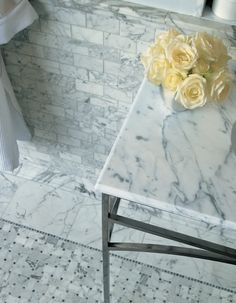 Classic Subway - Classic White Marble Mosaic from Walker Zanger's Tribeca Collection.