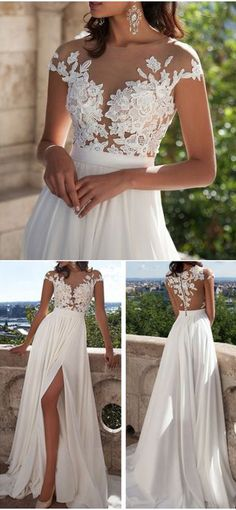 wedding dresses,Ivory Lace Beach Wedding Dresses,Front Slit See Through Wedding Dress,Cap Sleeves Wedding Gowns