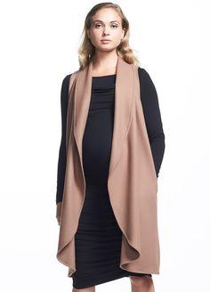 Soon Maternity - Frost Wool Long Vest in Camel