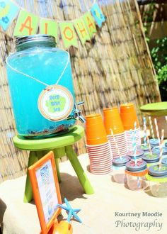 and plan your next party! Surf's Up Birthday Party drinks are always a hit! Aloha Party, Tiki Party, Luau Party, Beach Party, Hawaiian Birthday, Luau Birthday, Birthday Ideas, Birthday Party Drinks, Boy Birthday Parties