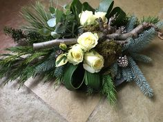 Christmas Urns, Christmas Wreaths, Xmas Decorations, Funeral, Rustic Decor, Flower Arrangements, Orchids, Floral Wreath, Holiday Decor