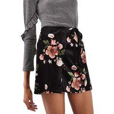Women's Topshop Floral Wrap Miniskirt (410 SEK) ❤ liked on Polyvore featuring skirts, mini skirts, black multi, mini skirt, wrap mini skirt, flower print skirt, short wrap skirt and floral printed skirt