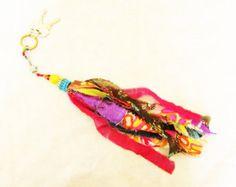 porte-clés Belle boho main Tasel trousseau de tissu, perles décoration…