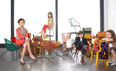 Vintage children's chairs from the Mondo Cane Gallery NYC, photo montage by Lee Clower