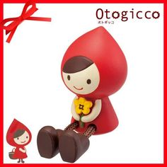 cute Little Red Riding Hood figurine with flower and stretched legs Japan 3
