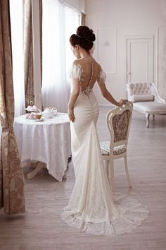 Angelic lace wedding gown feathers slinky silhouette pearl | Etsy Modest Wedding Dresses, Bridal Dresses, Wedding Gowns, Lace Wedding, Goddess Dress, Dress Shapes, Here Comes The Bride, Embroidered Lace, Wedding Styles