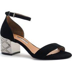 034b8c175a2e7 Czarne zamszowe sandały na srebrnym obcasie 23B. Sandały damskie Neścior z  klamrą czarne bez wzorów ...