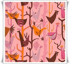 Tela de algodon de divertidos dibujos de gallinas sobre fondo rosa.