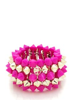 Rows of spikes make this stretchy bracelet feel a little edgy, but the fun color scheme is undeniably flirty and feminine.