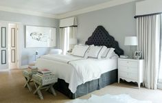 love the draperies with cornices, headboard shape and color, bedding, snakeskin x benches