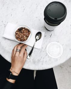 a little black white and marble fika moment. Looks like a lovely coffee shop. New trend FIKA and slow living. Coffee Cafe, Coffee Drinks, Coffee Shop, Cute Food, I Love Food, Good Food, But First Coffee, Coffee Break, Fine Dining