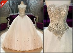 Online Shopping Bling Bling Crystals luxury Sweetheart Lace Applique cathedral train Ball Gown Wedding Dresses 375.92   m.dhgate.com