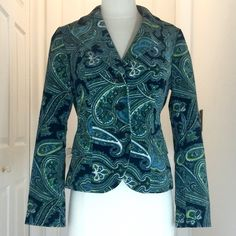 Talbots Blue Green Velvet Paisley Blazer Stretchy Talbots blazer made from a soft velvet material. Very rich shades of blue, green, lime, and black in a paisley pattern. Comes from a smoke free home. Talbots Jackets & Coats Blazers