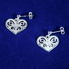 925 Sterling Silver Plated Flat Filigree Heart Post Earrings with 925 Sterling Silver Post (Stud) Ear Wires with 3mm Ball Ends