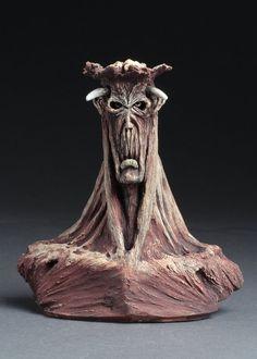 Dug Stanat 13 x 12 x 5 cm x 5 x 2 inches) ceramic Rhythm with the Head of a Bull Ceramic Sculpture Figurative, Masks Art, Sculpture Art, Art Dolls, Sculpting, Weird, Character Design, Deviantart, Statue