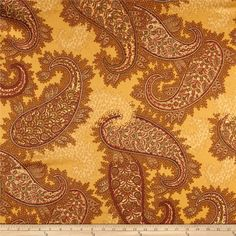 Robert Allen Promo Ianni Sateen Saffron from @fabricdotcom  Screen printed on cotton sateen; this versatile medium weight fabric is perfect for window accents (draperies, valances, curtains and swags), accent pillows, duvet covers, and light upholstery. Colors include brown, sienna, rust and saffron.