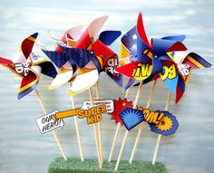 superhero pinwheels! Superman Birthday Party, Batman Party, Baby Boy 1st Birthday, 4th Birthday Parties, Superhero Party, Birthday Party Decorations, Birthday Ideas, Birthday Favors, Ninjago Party
