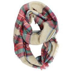 Beige Multicolor Classic Plaid Pattern Circle Infinity Scarf (£15) ❤ liked on Polyvore featuring accessories, scarves, beige, lightweight, tartan scarves, lightweight scarves, long scarves, fringe infinity scarf and circle scarf