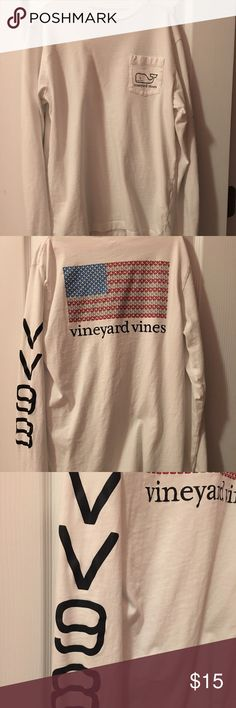 """Vineyard Vines Long Sleeve Tee Gorgeous Vineyard Vines white t-shirt with classic whale logo on left chest and American whale flag on back with """"VV98"""" inscribed on left sleeve. Worn once (selling because too small). Smoke free home! Vineyard Vines Shirts & Tops Tees - Long Sleeve"""