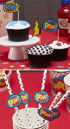 Pop these Ginger Ray superhero food picks into your dessert table cupcakes. We're also obsessing over these polka dot paper straws which are perfect for the reception drinks #superherowedding