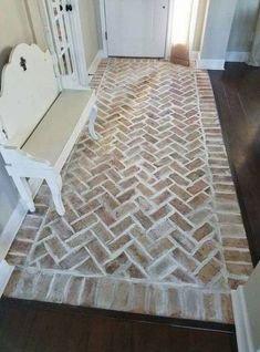 Border then chevron inside Entrance. Border then chevron inside Entrance. Border then chevron inside Entrance. Border then chevron inside Entryway Flooring, Bathroom Flooring, Kitchen Flooring, Brick Floor Kitchen, Brick Bathroom, Lowes Wall Tile, Tile Entryway, Bathroom Ideas, Entry Tile